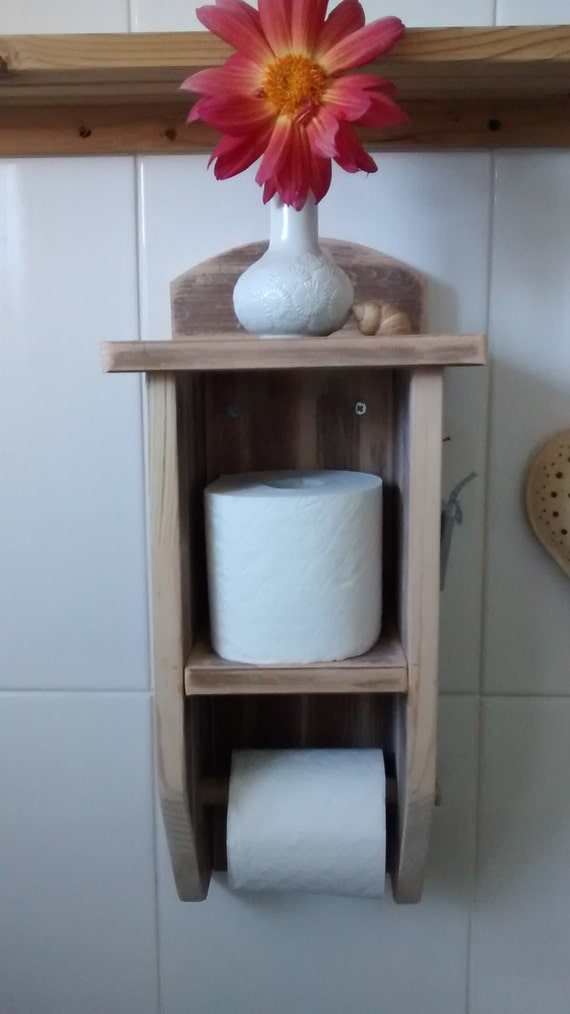 Rustic Coastal Reclaimed Upcycled Wood Toilet Roll Holder With