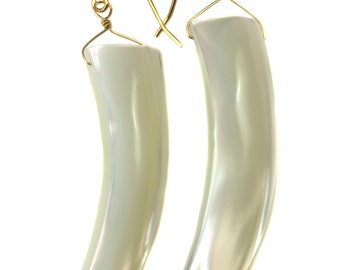 Mother of Pearl Earrings White Shell 14k Gold Filled or Sterling Silver Natural Curved Shell Long 2 Inch Drops Earthy Large Simple Drops MOP