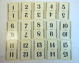 Vintage Number Cards II Wedding Table Number Set Flinch Cards Table Numbers Scrapbooking Paper Ephemera Papercraft Black and White
