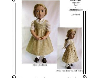 "PDF Pattern KDD15-16 Regency Dress,Pinafore&Fichu Makes doll Clothes to Fit 16"" A Girl For All Time ~ By KeepersDollyDuds"