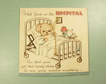 Get Well Hospital Stay Card - Vintage Bear Bed Mechanical