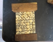 Bone and Ebony 19th Century Dominoes in Original Handmade Wooden Box.