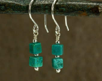 Turquoise Cube Earrings with Sterling Silver, Dangle Earrings, Turquoise Earrings, Small Turquoise Earrings, Southwestern Earrings