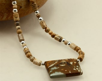 Picture Jasper Necklace with Red Creek Jasper Pendant, Sterling Silver, Southwestern Necklace, Brown Necklace, Pendant Necklace
