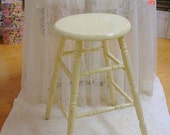 Shabby Kitchen Stool Vintage Distressed Prairie French Country Farmhouse Chic