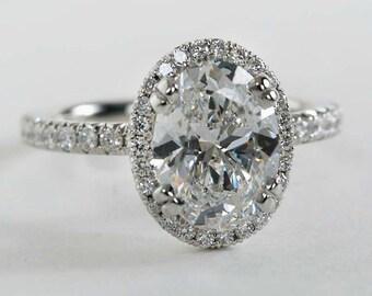 5.00 Carat GIA G VS1 Oval Cut Halo Diamond Engagement Eternity Ring Platinum 950