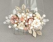 Rose Gold Bridal Comb-Bridal Hair Accessories-Rose Gold Hairpiece- Wedding Hair Accessories-Blush Pink Bridal Hairpiece- Rose Gold Hair Comb