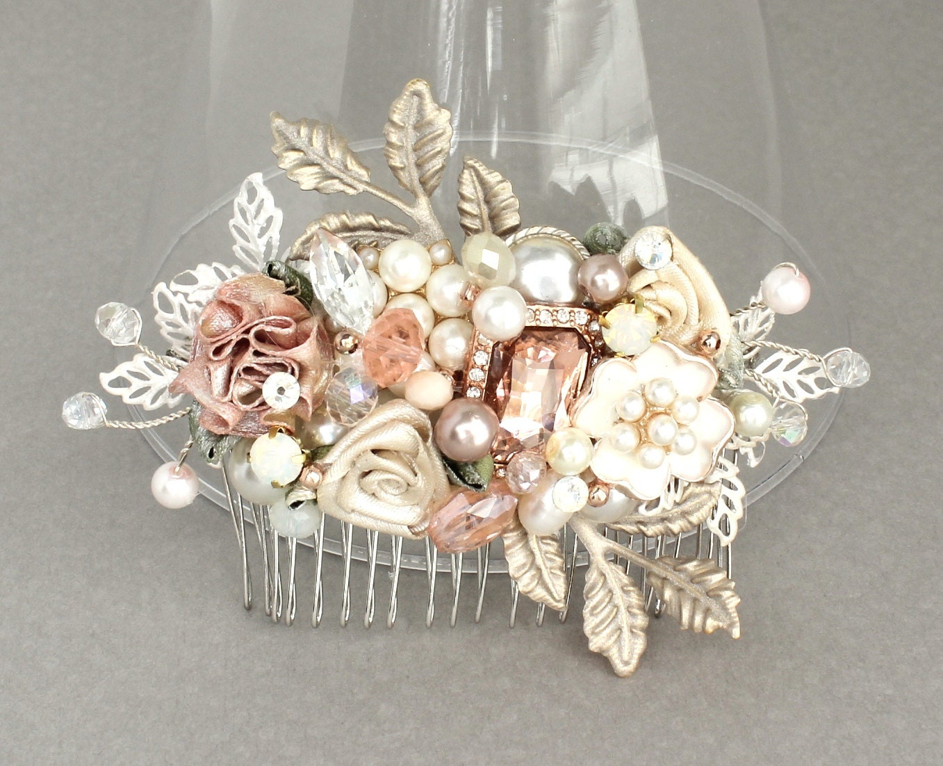 Rose Gold Bridal Comb-Bridal Hair Accessories-Rose Gold