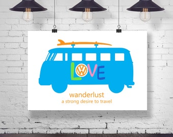 Instant Download - Hippie VW Bus with Surf Board - Wanderlust Quote Typography Wall Art Home Decor