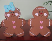 Gingerbread, twins, Christmas, shelf sitters, holidays, handpainted