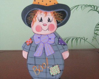 witch, halloween, cute witch, shelf sitter, handpainted, patches,