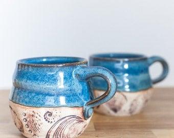 Cozy Coffee Mug - Fireside Coffee Mug -  Blue Ceramic Coffee Mug