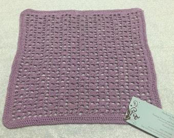 Vintage 12x11 inch Purple Hand Crochet doily for crafts, shabby chic, housewares, linen, trim, valentines, by MarlenesAttic