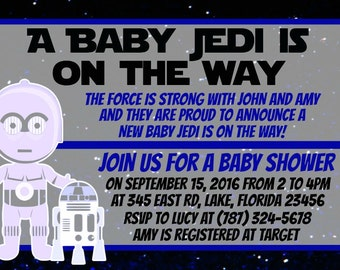 Star Wars Baby Shower Invitation Download - A Baby Jedi Is On The Way