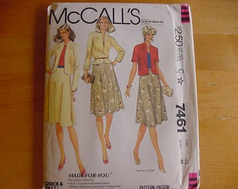 Vintage 1980s McCalls Pattern 7461, Misses Jacket with Short or Long Sleeves, 4 Gore and Flared Skirt, Plus Size 42, Bust 46, Uncut