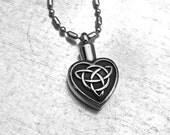 Celtic Cremation Necklace, Heart Urn, Urn Locket, Ashes Holder Necklace, Cremation Locket, Memory Locket, Cremation Jewelry, Heart Locket