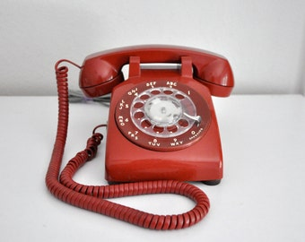 Vintage Red Rotary Phone Telephone ATT