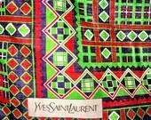 Large YSL Yves Saint Laurent Cotton Scarf Shawl ~ Navy Blue, Green, Red, White Geometric Plaid