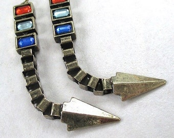 Extra Long Pendants, Antique Brass Pendants, 82mm Boho Rustic Arrowhead, Red & Blue Insets Bohemian Tribal DIY Jewelry Making 2 Pieces SP681
