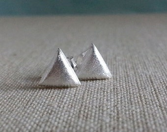 Silver Triangle Studs, Sterling Silver Triangle Earrings, Geo Studs, Triangle Studs,Silver Triangle, Everyday Earrings
