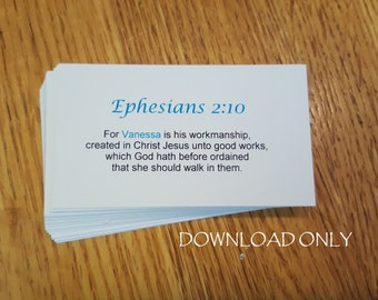 Printable Walking with God Personalized Prayer Cards, Business Card Size, Scripture Download, Biblical Encouragement, Spiritual Mind, Church