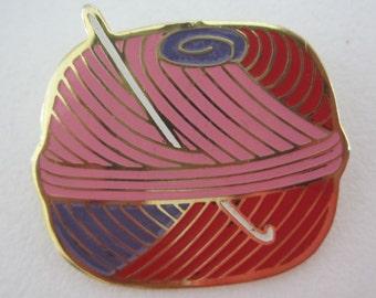 Vintage Enamel Yarn Ball Crochet Hook Brooch - Pink Purple Gold Tone - Whimsical Accessory - Womens Retro Jewelry - Gift Idea - Crafters Pin