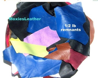 LEATHER ON SALE leather remnants pieces blue green blue, half a pound of leather remnants  #110 large sizes and small