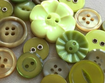 eco friendly nos and vintage mod button destash in greens and yellow//neon lime peridot sage olive khaki--mixed lot of