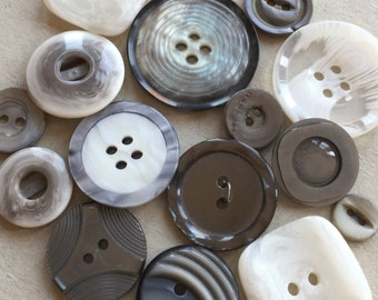 destash of gray, black and white snow drifting decorative modern eco friendly buttons--mixed lot of 16