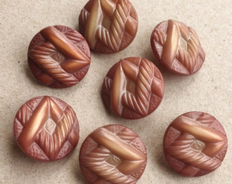vintage nos art deco celluloid blusing pinkish brown shank buttons with overlapping V design--matching lot of 7