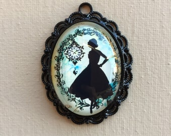 Mystic . Gothic . Glass . Sillhouette . Girl . Lady . Cabochon . Pendant