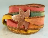 Leaf Bracelet - Silk Ribbon Wrap - Handcrafted - Recycled Copper