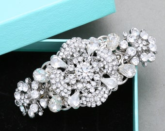Flower Star Bridal Hair Comb, Vintage Style Wedding Hair Comb, Rhinestone Crystal Hair Comb, Wedding Hair Accessories, Bridal Alligator Clip