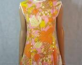60s/70s Vintage Button Detail Bright Psych Floral Mod Mini Dress.