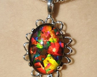 Mosaic Canadian Ammolite Sterling Silver Pendant WAS 160.00 On SALE 145.00
