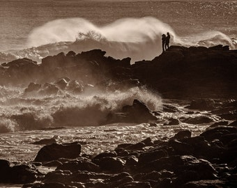 Fine Art Photograph, Watching the Waves Break, Sepia Print