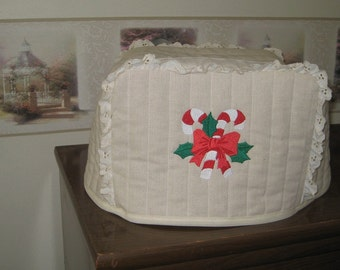 2 slice toaster cover candy cane design
