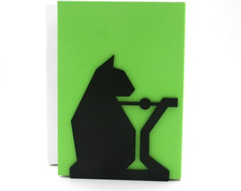 Cat & Coctail Bookend, Modern And Minimalistic Style.