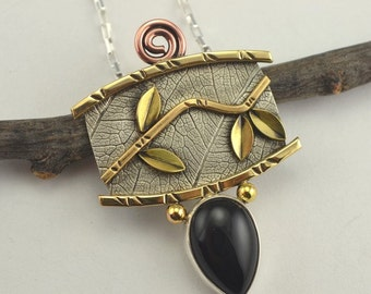Twig and Leaf Pendant - Mixed Metal Necklace - Metal Art Jewelry