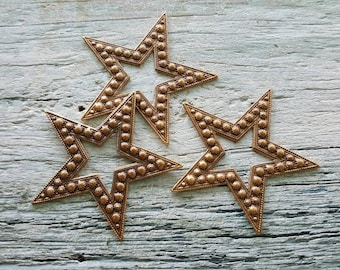 Vintaj Natural Brass  {Beaded Star Embellishment} 3 Pcs - P361