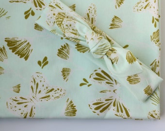 Mint and Gold Butterfly Baby Blanket | Designer Baby Blanket in Mint and Gold by JuteBaby