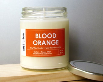 Soy Candle, Scented Jar, Home Decor, Gift, Container Candle, BLOOD ORANGE