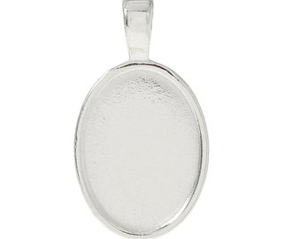 2pc Silver Plated Oval Cabochon Setting - Fits 25x18mm - Jewelry Finding, Jewelry Making Supplies, Necklace, DIY, Ships from USA - S13