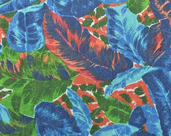 Vintage Tropical Fabric, Leaf Fabric, Hawaiian Fabric, Cotton Fabric by the Yard, Vintage Fabric Yardage - 1 Yard - CFL1789