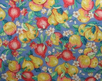 Cotton Quilting Fabric, Fruit Fabric, Pomegranate Fabric, Pears, Cotton Floral Fabric, Yellow Red Blue Pompeii - 1 Yard - CFL1337