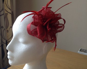 Red Sinamay and Coq Feather Fascinator or Corsage with pearl sprays Races, Weddings, Prom, Cruise