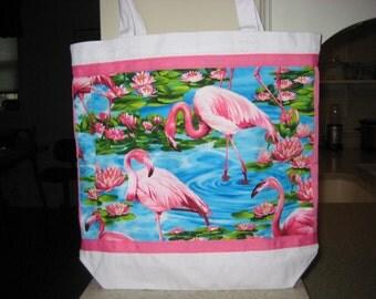 Pink Flamingo Tote, Florida Vacation Bag, Tropical Decor, Reusable Grocery Bag, Jimmy Buffet Accessory