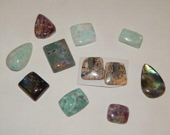 Gemstone cabachons, 11 flat back gemstones,