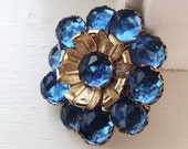 Beautiful Poss Schreiner Brooch, Inverted Rhinestone Brooch, Faceted Blue Crystals