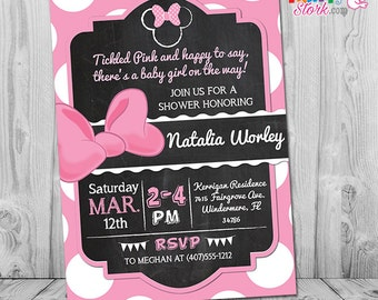 Minnie Mouse Baby Shower Invitation, Pink And Black Minnie Mouse Baby  Shower Invites, Baby